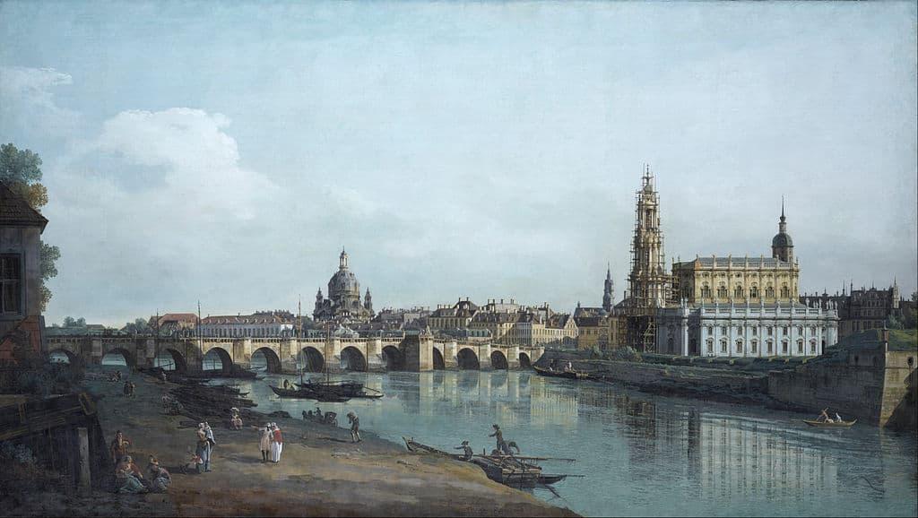 Dresden vom rechten Elbufer unterhalb der Augustusbrücke (Bernardo Bellotto)